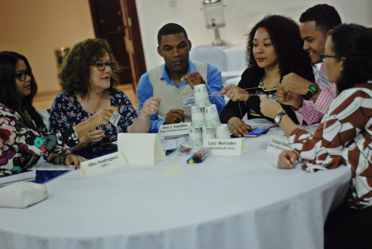 QI collaborative team from the Dr. Francisco A. Gonzalvo Hospital, La Romana during the ice breaker activity