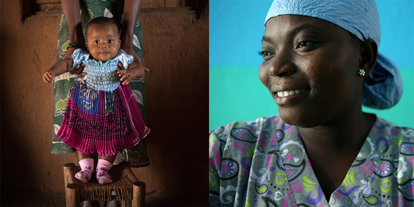Photo of a baby on a chair and a nurse in Liberia