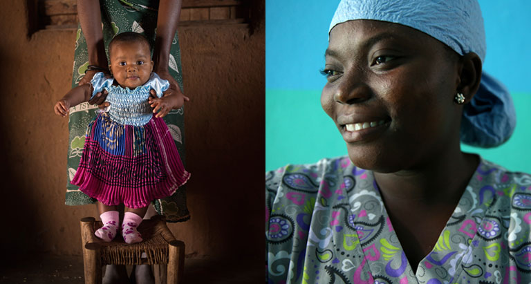 Photo of a baby on a chair and a nurse in Liberia (click to visit the CHS Catalog)