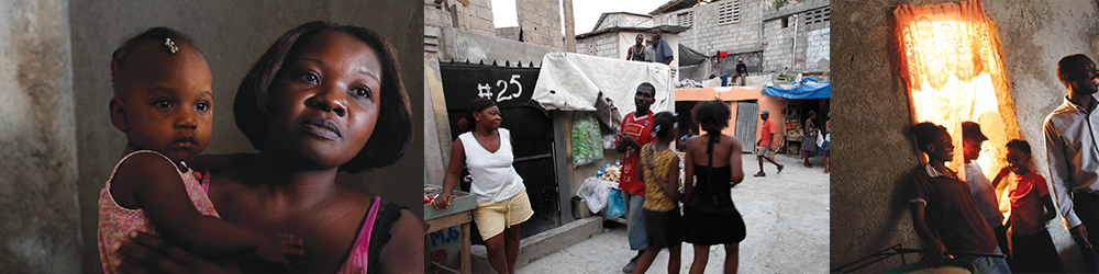 Photo banner showing people in Haiti
