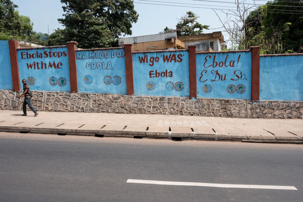 Photo of a street in Sierra Leone with Ebola-related murals in different languages. Credit: Joshua Yospyn