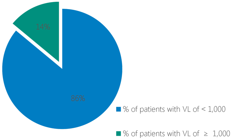 Chart showing Patients Who Have an Adherence of ≥95%<br />   with a Viral Load of <1,000 copies per ml