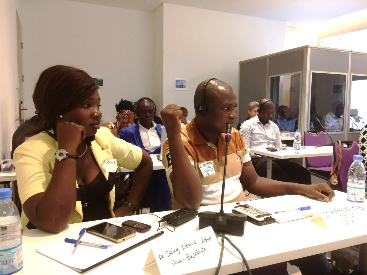 Leaders of RENASEG participate in the Survivor Network Regional Workshop in Conakry, Guinea in March 2017. Dr. Seny Ivonne Loua, Vice President (left) and Dr. Mamadou Oury Diallo, President (right).