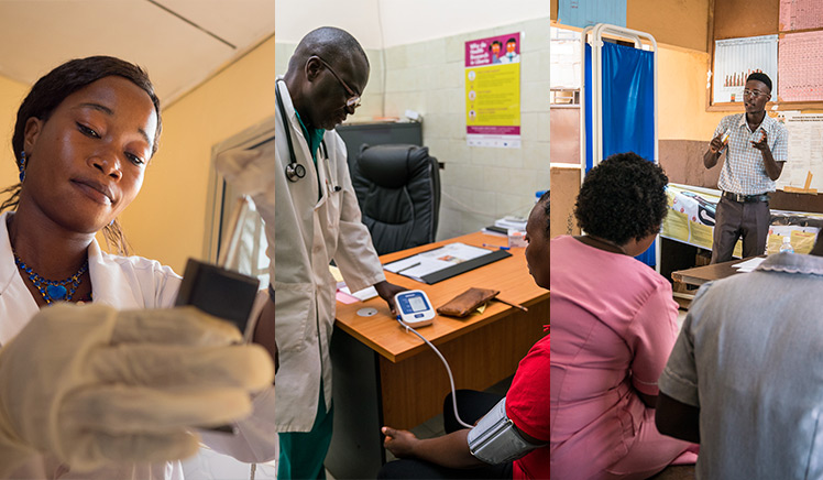Photos of doctors and medical workers in three different photos from Guinea, Liberia, and Sierra Leone.