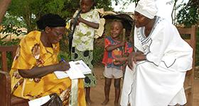 A health worker talks to her client about family planning