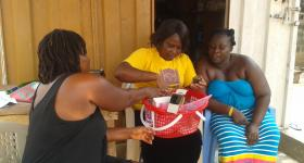 Stella Nyarko introducing health products to her clients