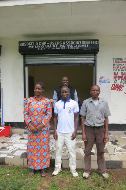 CHFuA leaders, volunteer and HIMSO staff at their office in Lwanga Busekelo